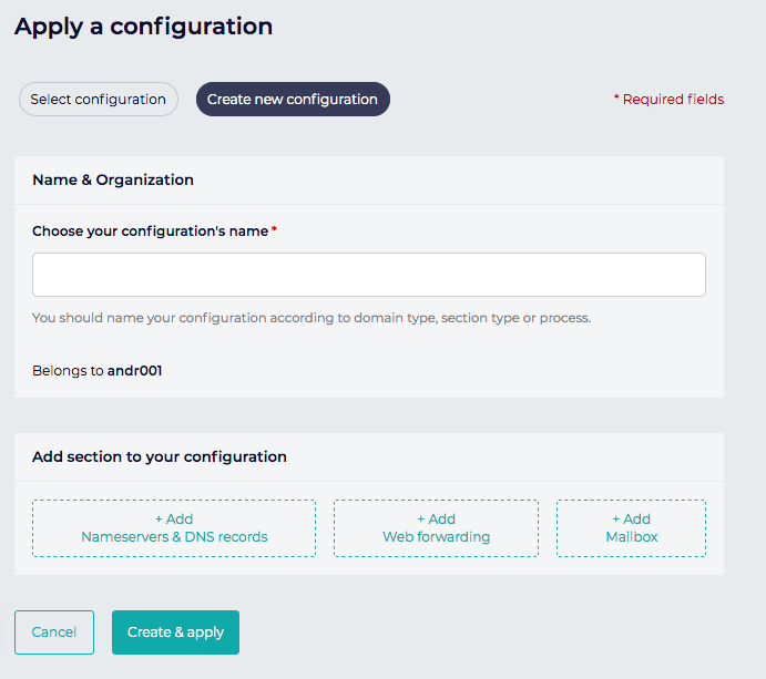 Screenshot of Gandi's configuration template interface