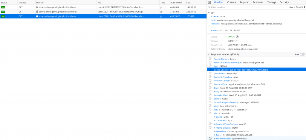Overview of JavaScript files requests & bundle splitting for shop.gandi.net as seen throught Firefox Devtools