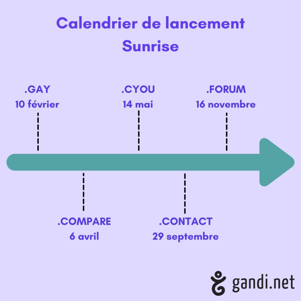 Calendrier sunrise nouvelles extensions 2020 les plus enregistrées chez Gandi