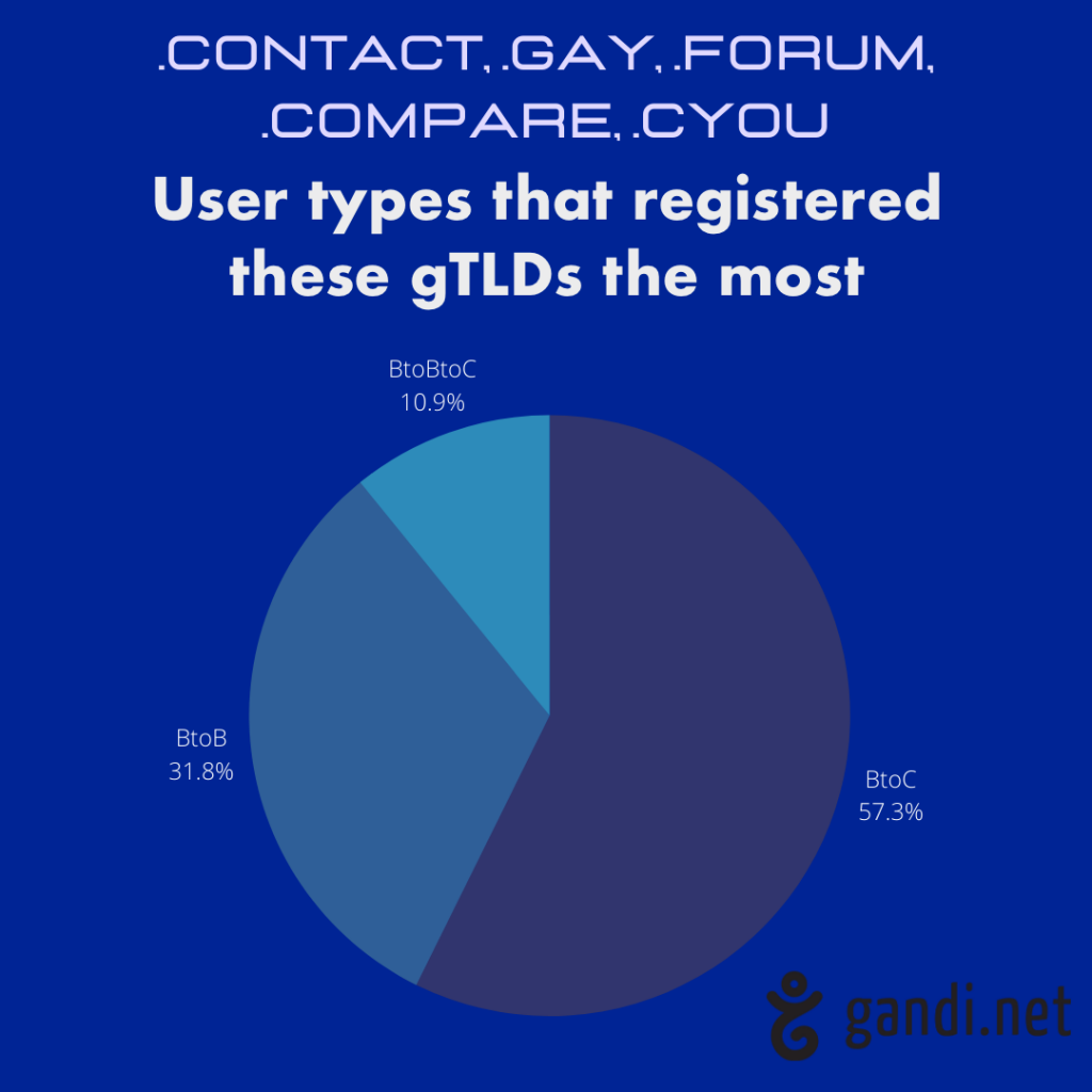 User types that registered new gTLDs the most