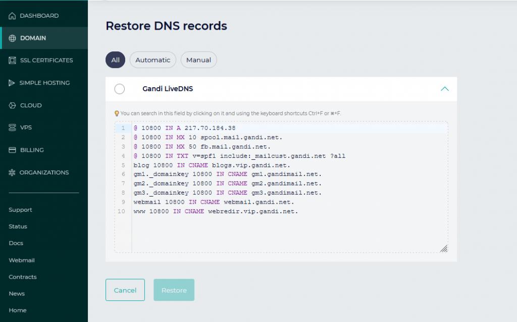 Gandi - How to restore a DNS record