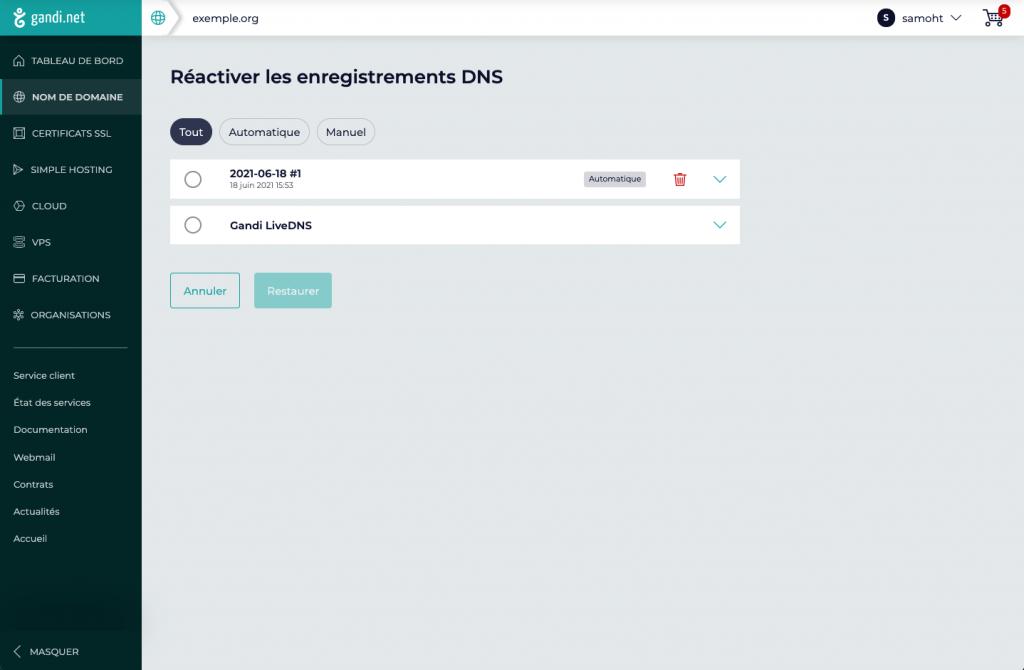 Gandi - Snapshots DNS