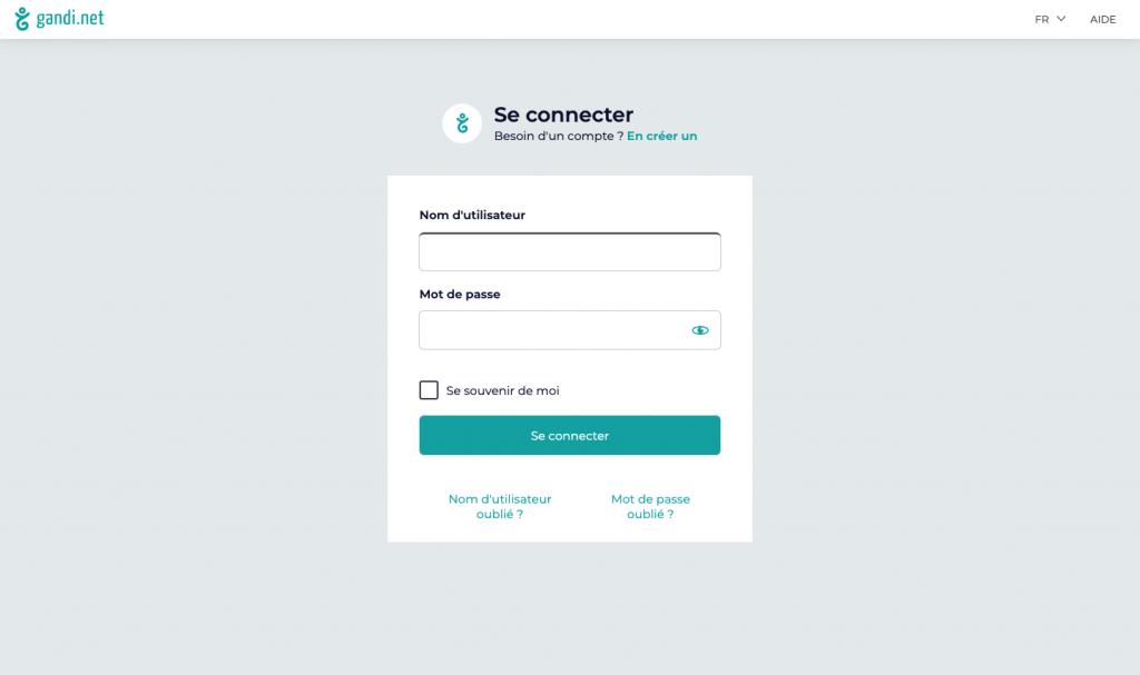 Gandi - Redesign interface de connexion